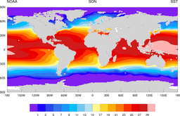 NOAA climatology mean sea surface temperature SST